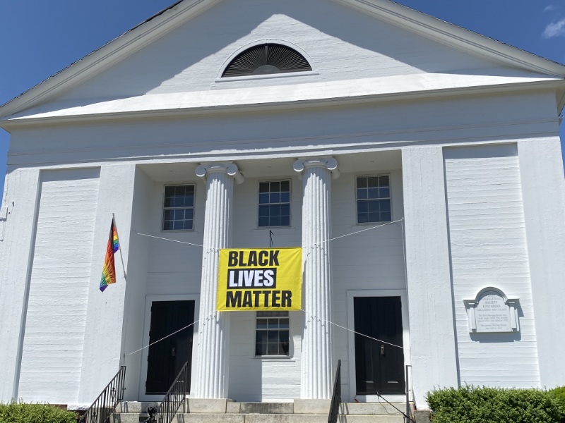 Black Lives Matter Banner on front of Church
