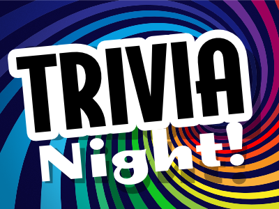 Trivia Night graphic with swirling colors